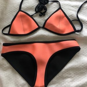 Black and Coral TRIANGL Swimsuit
